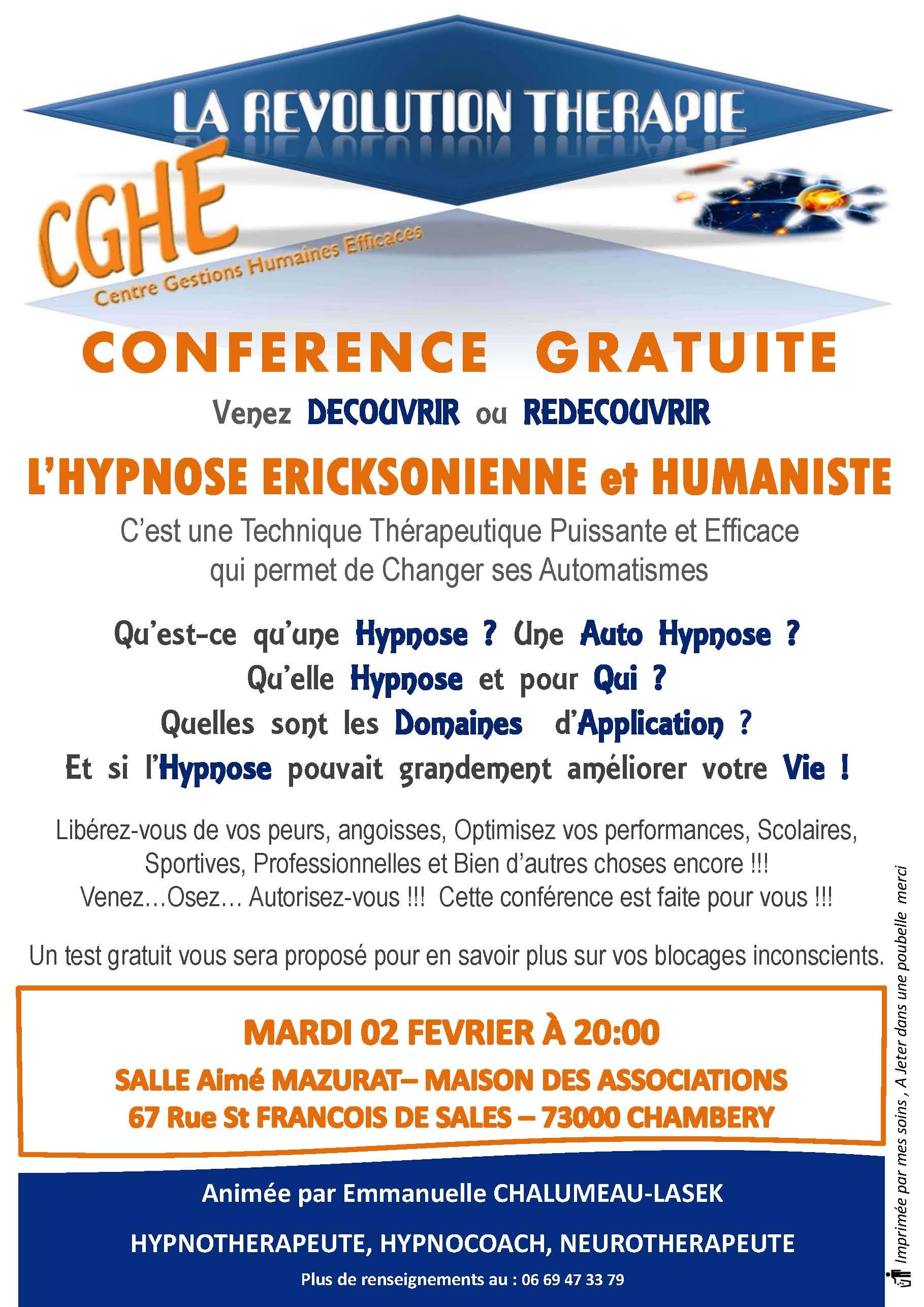 Affiche Conférence Hypnose