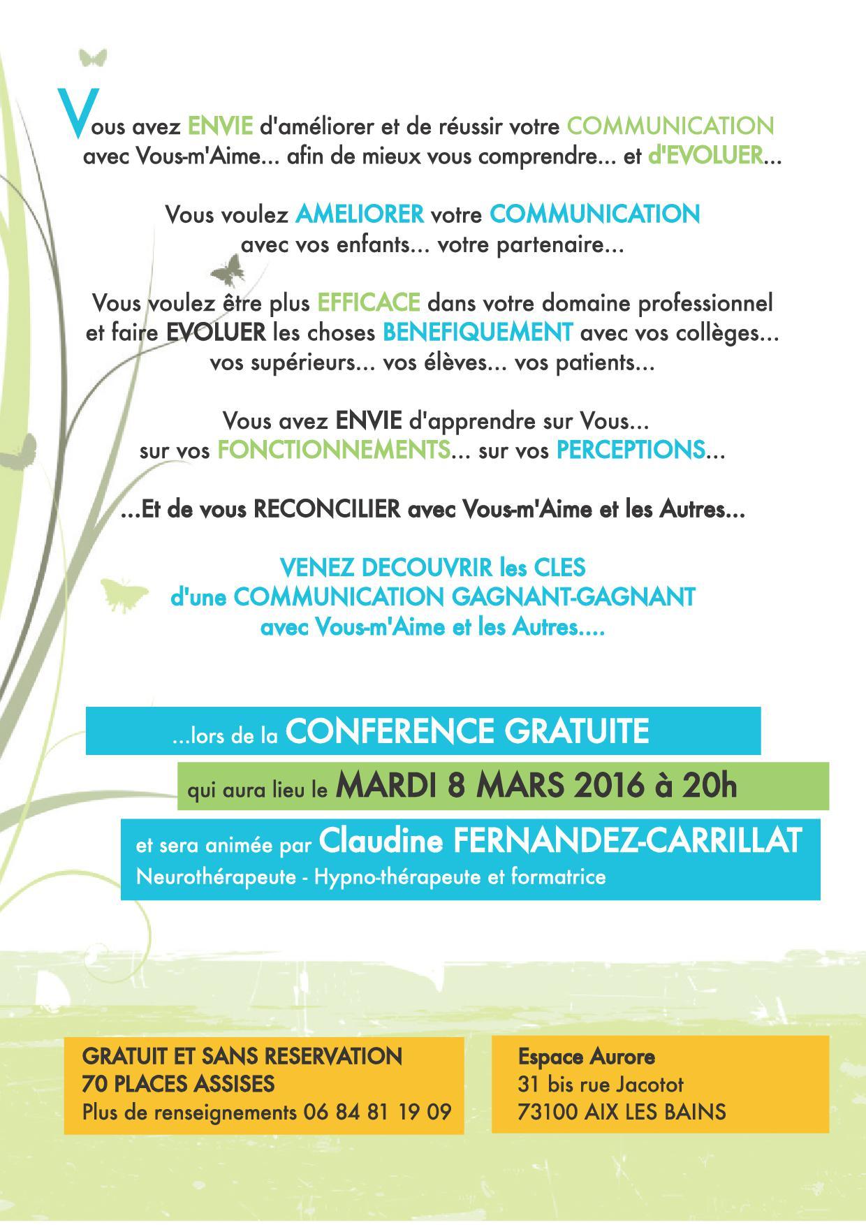 Affiche conference PNL Espace Aurore 8 MARS 2016 - Copie