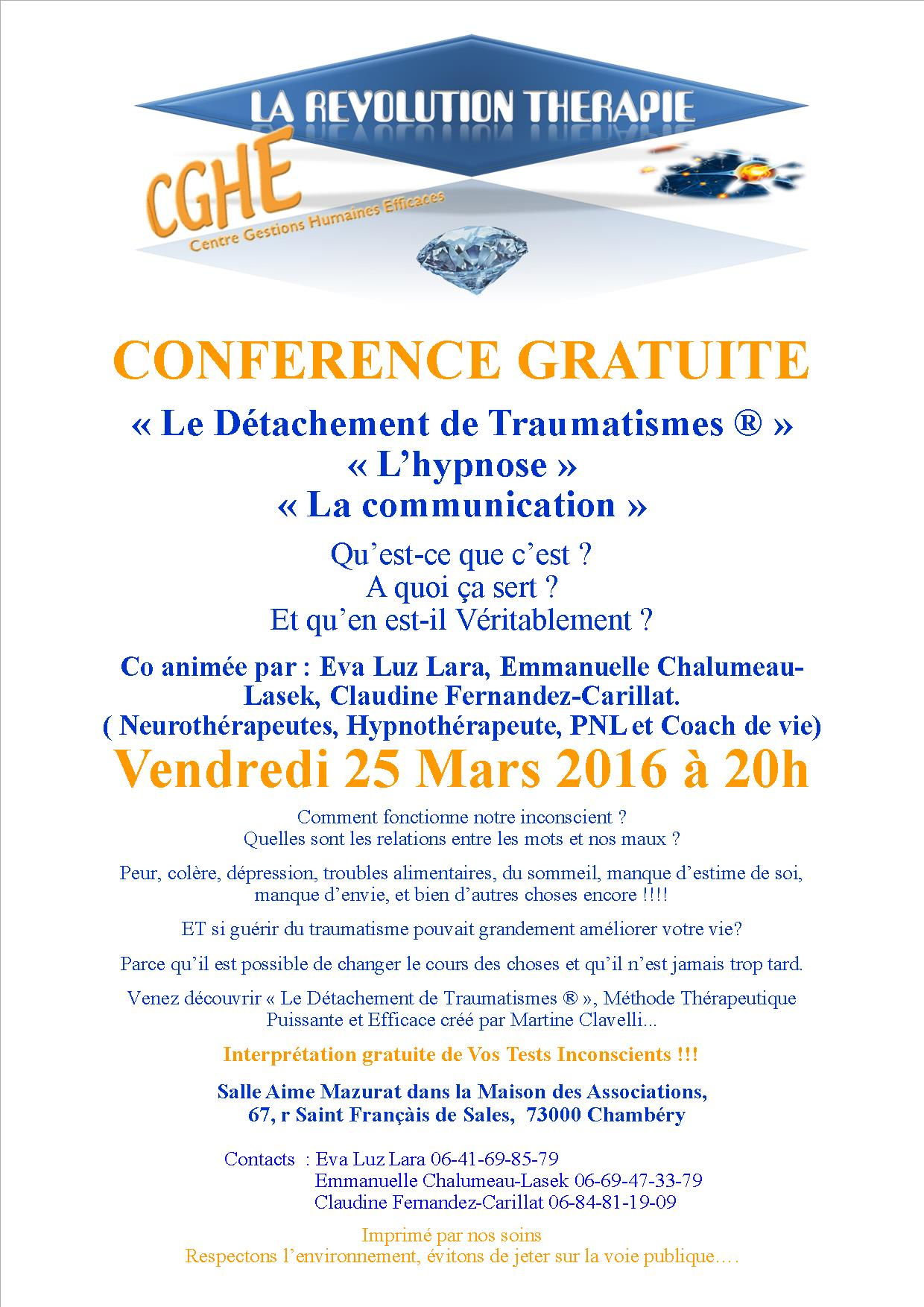 CONFERENCE Maison des Associations Chambery